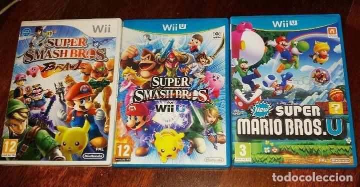 VIDEOJUEGOS SUPER SMASH BROS Y SUPER MARIO BROSS LOTE DE 3 JUEGOS (Juguetes - Videojuegos y Consolas - Nintendo - Wii U)