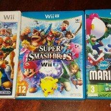 Nintendo Wii U: VIDEOJUEGOS SUPER SMASH BROS Y SUPER MARIO BROSS LOTE DE 3 JUEGOS. Lote 215792806