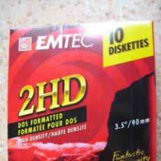 Nuevo: CAJA DE 10 UNIDADES DE DISKETTES 2HD DE 3.5. 1.44 MB. NUEVO. PRECINTADO. MARCA EMTEC. Lote 56963524