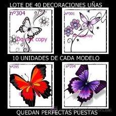 Nuevo: ¡¡¡OFERTA!!! LOTE DE 40 DECORACIONES PARA UÑAS DE MARIPOSAS - 10 UNIDADES DE CADA MODELO. Lote 35471572