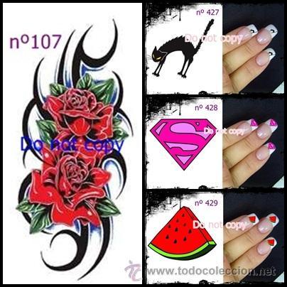Lote De 10 Pegatattoos Para Uñas Efecto Tatuaje Elige Modelo Lote 1002 Pegatinas