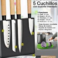 Nuevo: CONJUNTO DE 5 CUCHILLOS DE COCINA PROFESIONALES PARA DIFERENTES CORTES: CHEF, PANERO, TRINCHERO, PIC. Lote 33950209
