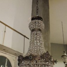 Nuevo: PRECIOSA LAMPARA DE TECHO DE CRISTALES Y BRONCE ENVEJECIDO ALTURA 60 CM. Lote 148987218