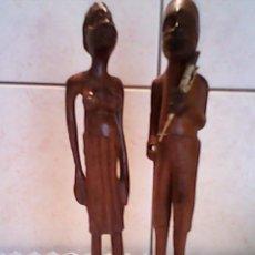 Nuevo: PRECIOSA PAREJA ESCULTURAS DE AFRICANOS TALLADAS EN EN MADERA. Lote 39424356