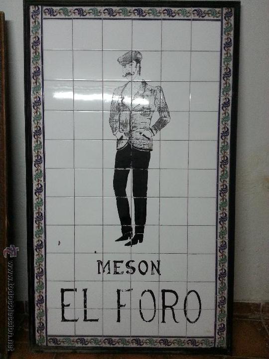 Nuevo: Gran cartel de chulapo pintado a mano sobre azulejo. Antiguo mesón el foro de Alcalá de henares. - Foto 2 - 41372291