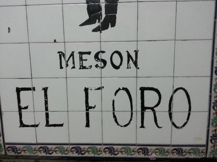 Nuevo: Gran cartel de chulapo pintado a mano sobre azulejo. Antiguo mesón el foro de Alcalá de henares. - Foto 4 - 41372291