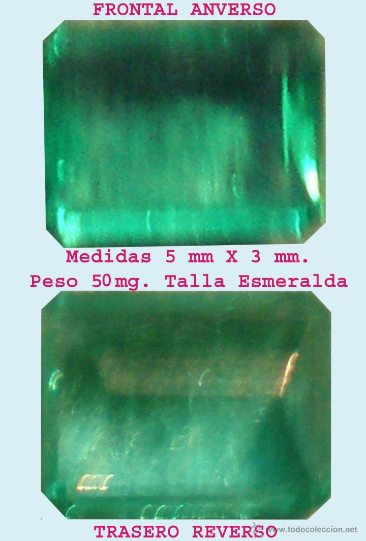 BONITA ESMERALDA COLOMBIANA DE GRAN PUREZA Y LIMPIEZA, MONTAR TALLA ESMERALDA 5 X 3 MM. PESO 50 MG. (Artículos Nuevos)