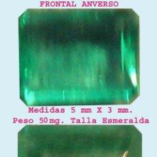 Nuevo: BONITA ESMERALDA COLOMBIANA DE GRAN PUREZA Y LIMPIEZA, MONTAR TALLA ESMERALDA 5 X 3 MM. PESO 50 MG.. Lote 51802986