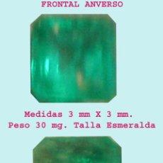 Nuevo: BONITA ESMERALDA COLOMBIANA DE GRAN PUREZA Y LIMPIEZA, MONTAR TALLA ESMERALDA 3 X 3 MM. PESO 30 MG.. Lote 51803271