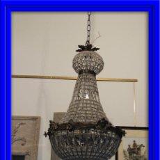 Nuevo: IMPORTANTE LAMPARA DE CRISTALES Y BRONCE ENVEJECIDO ALTURA 70 CM. Lote 54546503