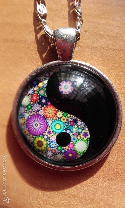 Nuevo: Colgante estilo vintage florido Yin y Yan bajo cabuchón de cristal en plata tibetana. Nuevo. - Foto 2 - 132400217