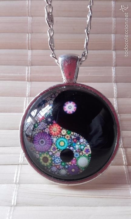 Nuevo: Colgante estilo vintage florido Yin y Yan bajo cabuchón de cristal en plata tibetana. Nuevo. - Foto 3 - 132400217