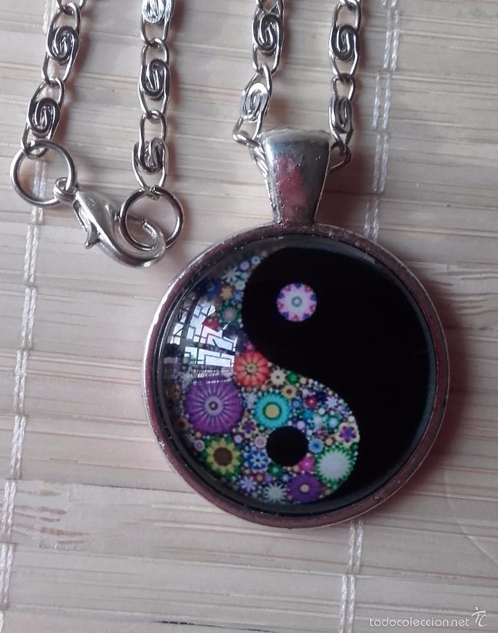Nuevo: Colgante estilo vintage florido Yin y Yan bajo cabuchón de cristal en plata tibetana. Nuevo. - Foto 5 - 132400217