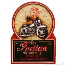 Nuevo: CUADRO RETRO DE MADERA MOTO INDIAN MOTORCYCLE, PUBS BODEGAS. Lote 56807905