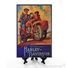 Nuevo: REPRODUCIÓN EN AZULEJO 20X30 DE PUBLICAD VINTAGE HARLEY DAVIDSON. Lote 124886784