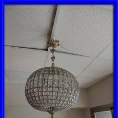 Nuevo: LAMPARA O GLOBO DE CRISTAL Y BRONCE DIAMETRO 40 CM.. Lote 68888885