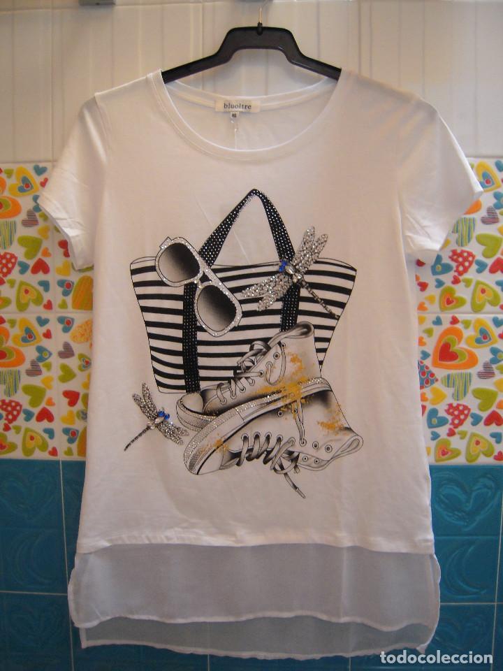 Camiseta estampada con piedras talla M/L segunda mano