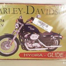 Nuevo: CARTEL DE CHAPA RETRO DE HARLEY DAVIDSON HYDRA GLIDE. TAMAÑO 20X30 CM. NUEVO. Lote 96295551