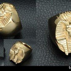 Nuevo: SORTIJA VINTAGE DE ORO LAMINADO DE 18 KILATES PESA 32,83 GRAMOS ( FARAON DEL ANTIGUO EGIPTO ) Nº264. Lote 110686550