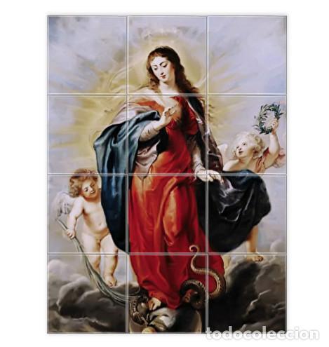 RETABLO DE 12 AZULEJOS 10X10 CON LA VIRGEN MARIA Y ÁNGELES (Artículos Nuevos)