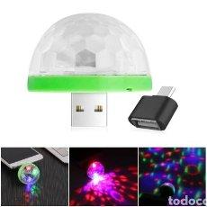 Nuevo: LED BOLA DE DISCOTECA PORTÁTIL USB, CON ADAPTADOR MICRO USB, A ESTRENAR NUEVA. Lote 111849867