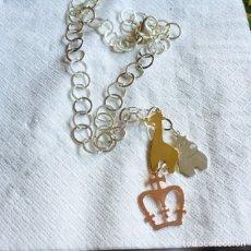Nuevo - Bonita cadena con colgantes, plata y plata dorada - 127904691
