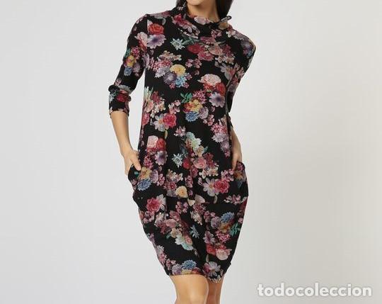 Vestido Negro Flores Talla 38