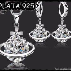 Nuevo: BONITO CONJUNTO DE COLLAR Y PENDIENTES CHAPADO EN PLATA 925. NUEVO. Lote 131873894