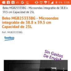 Nuevo: MICROONDAS INTEGRABLE CRISTAL NEGRO TACTIL 900W 25L. Lote 143351237