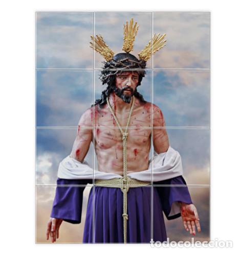 RETABLO DE 12 AZULEJOS 10X10 CTM DE NTRO. PADRE JESÚS DEL AMOR DESPOJADO DE SUS VESTIDURAS DE CÁDIZ (Artículos Nuevos)