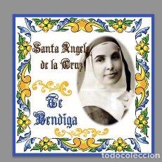 Nuevo: BONITO AZULEJO 20X20 DE SANTA ANGELA DE LA CRUZ TE BENDIGA.. Lote 155237050