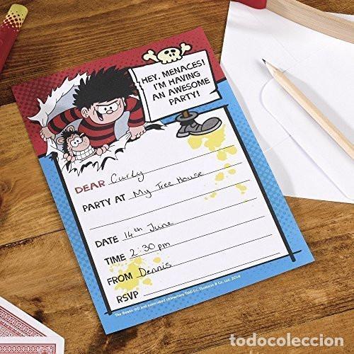 LOTE X 3 PAQUETES INVITACIONES (PACK DE 10) NEVITI THE BEANO DENNIS AMENAZA PARA FIESTA INFANTIL (Artículos Nuevos)
