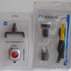 Nuevo: KIT SMARTPHONE PARA COCHE CARGADOR 2 USB CABLE 6-7-8-X MICRO USB TYPE C SOPORTE Y AMBIENTADOR NK. Lote 165391794