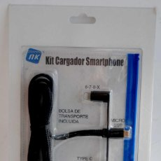 Nuevo: KIT CARGADOR SMARTPHONE COCHE 2 CONECTORES MICRO USB Y LIGHTNING 5 5S 6 6S 7 NUEVO PRECINTADO. Lote 165392398