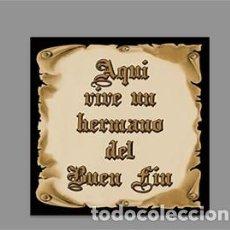Nuevo: AZULEJO 15X15 CTM CON EL TEXTO AQUÍ VIVE UN HERMANO DEL BUEN FIN. Lote 166978416