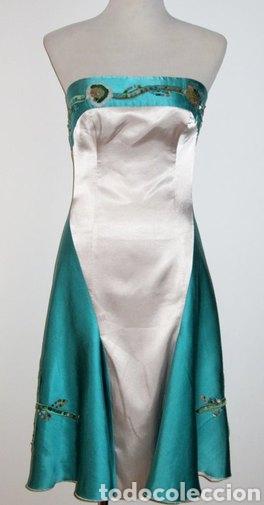 Nuevo: Vestido de pasarela ceremonia Jorge Terra T. 38 seda salvaje azul y plata - Foto 2 - 169902718