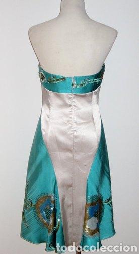 Nuevo: Vestido de pasarela ceremonia Jorge Terra T. 38 seda salvaje azul y plata - Foto 3 - 169902718
