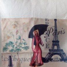 Nuevo: FUNDA PARA COJIN DE LINO Y ALGODON 45X45 DIBUJO PARIS.. Lote 171606247