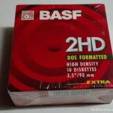 Nuevo: CAJA PRECINTADA CON 10 DISKETTES DE 3.5 PULGADAS BASF 2HD (FORMATEADOS PARA DOS). Lote 176213629