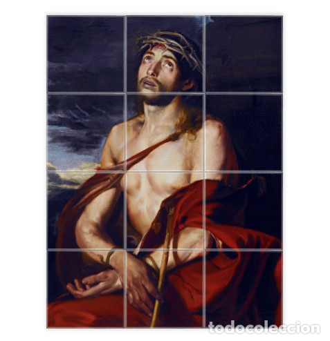 RETABLO CON 12 AZULEJOS 10X10 CTM DE JESÚS DEL ECCE-HOMO (Artículos Nuevos)