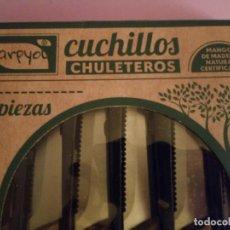 Nuevo: ESTUCHE CON SEIS CUCHILLOS CHULETEROS - ARPYOL - MANGO DE MADERA NATURAL. Lote 186328565
