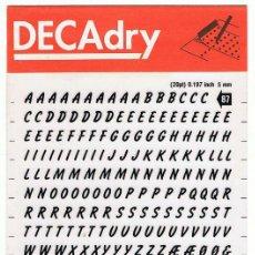 Nuevo: DECADRY. LETRAS TRANSFERIBLES Nº 87 (20 PT) 5 MM. LOTE DE 4 HOJAS. Lote 195249945