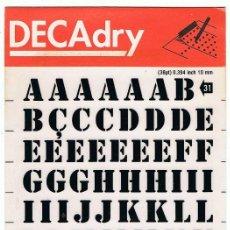 Nuevo: DECADRY. LETRAS TRANSFERIBLES Nº 31 (38 PT) 10 MM. LOTE DE 4 HOJAS. Lote 195250702