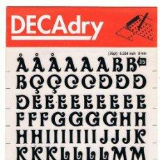 Nuevo: DECADRY. LETRAS TRANSFERIBLES Nº 35 (36PT) 9 MM. 1 HOJA. Lote 195250825