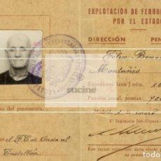 Nuovo: CARNET PARA PENSIONISTA DE EXPLOTACION DE FERROCARRILES POR EL ESTADO EN 1949 ( LA PANDEROLA). Lote 200373336