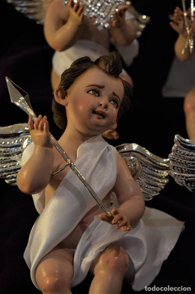 Nuevo: 4 BELLÍSIMOS ÁNGELITOS PASIONARIOS de 20 cm con accesorios hechos a mano bañados en plata. - Foto 4 - 217959406