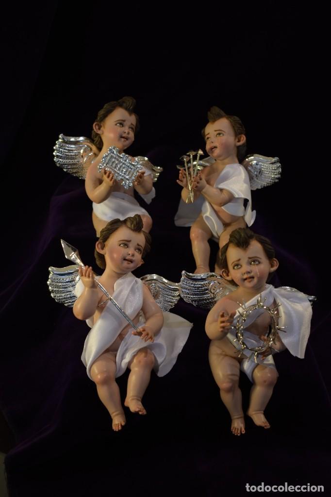 Nuevo: 4 BELLÍSIMOS ÁNGELITOS PASIONARIOS de 20 cm con accesorios hechos a mano bañados en plata. - Foto 6 - 217959406