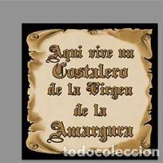 Nuevo: AZULEJO 15X15 CTM CON EL TEXTO AQUÍ VIVE UN COSTALERO DE LA VIRGEN DE LA AMARGURA. Lote 221115650