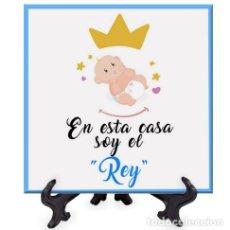 Nuevo: AZULEJO 15X15 CON EL TEXTO EN ESTA CASA SOY EL REY. Lote 228597367