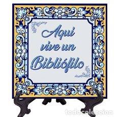 Nuevo: AZULEJO 10X10 CTM AQUI VIVE UN BIBLIÓFILO MOD:AZUL. Lote 269199543